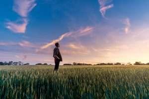 person in field